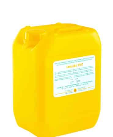 Zeigt einen 5 Liter Kanister mit dem Schmierstoff Unilube 9107, für den Einsatz von Minimalmengenschmierung.