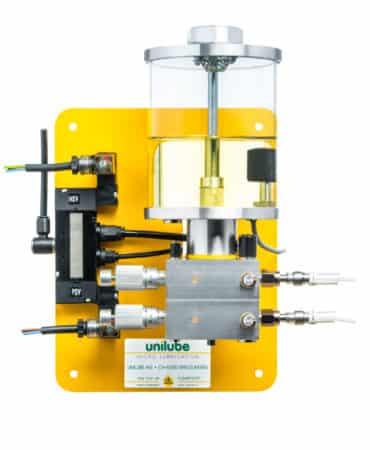 Zeigt ein Schmiersystem der Baureihe Poplube, für den Einsatz von Minimalmengenschmierung.