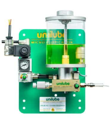 Zeigt ein Schmiersystem der Baureihe Ecolube 1D, für den Einsatz von Minimalmengenschmierung.