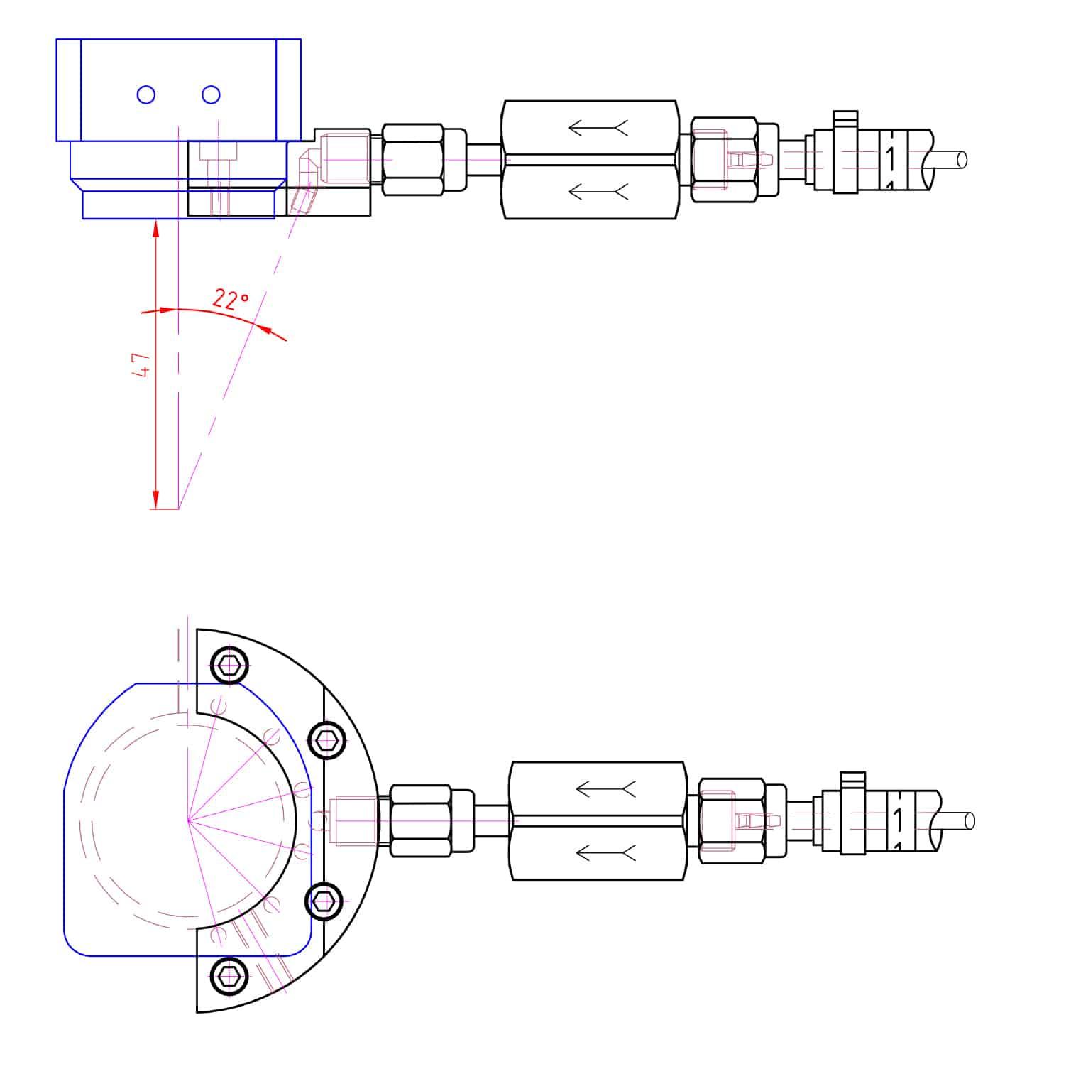 Zeigt eine Konstruktionszeichnung einer Halbringdüse von Unilube, für den Einsatz von Minimalmengenschmierung.