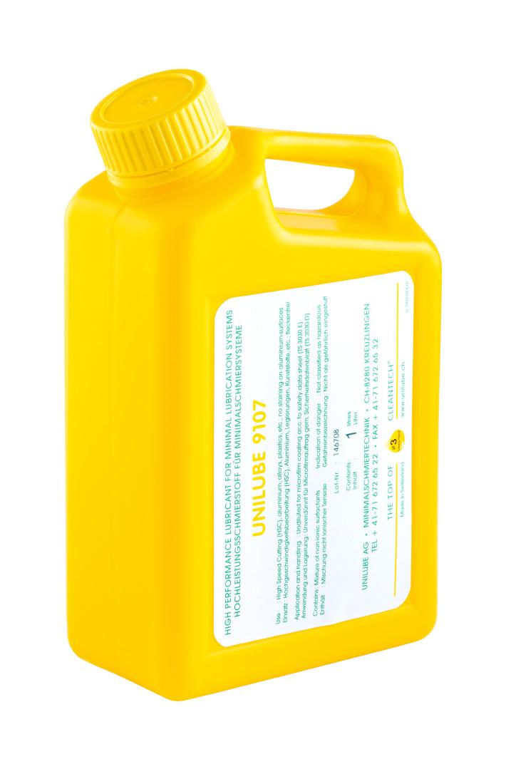 Zeigt einen 1 Liter Kanister mit dem Schmierstoff Unilube 9107, für den Einsatz von Minimalmengenschmierung.