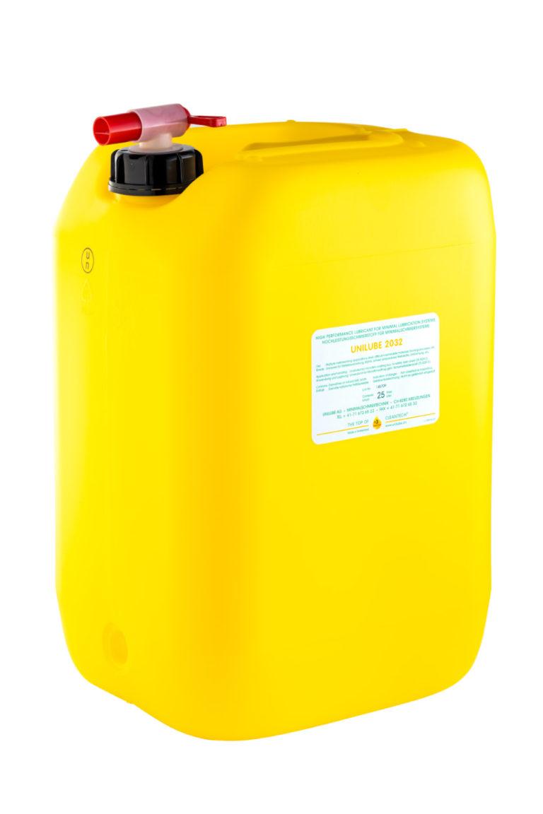 Zeigt einen 25 Liter Kanister mit dem Schmierstoff Unilube 2032, für den Einsatz von Minimalmengenschmierung.