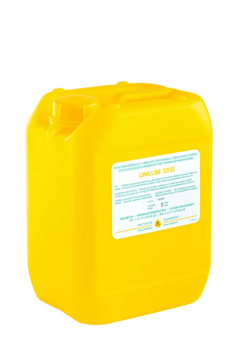 Zeigt einen 5 Liter Kanister mit dem Schmierstoff Unilube 2032, für den Einsatz von Minimalmengenschmierung.