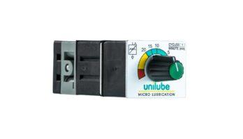 Zeigt einen pneumatischen Pulsgenerator von Unilube als Taktgeber mit Drehknopf und Einstellskala. Funktion: manuelle Fördertaktverstellung