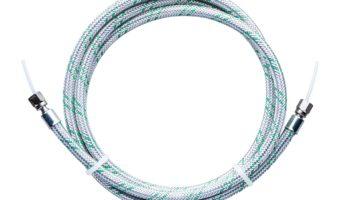 Zeigt eine koaxiale Zuführleitung von Unilube wobei die Kapillarleitung und die Ringleitung durch eine Metallschutzhülle geschützt wird (Gesamtlänge 2.1m).