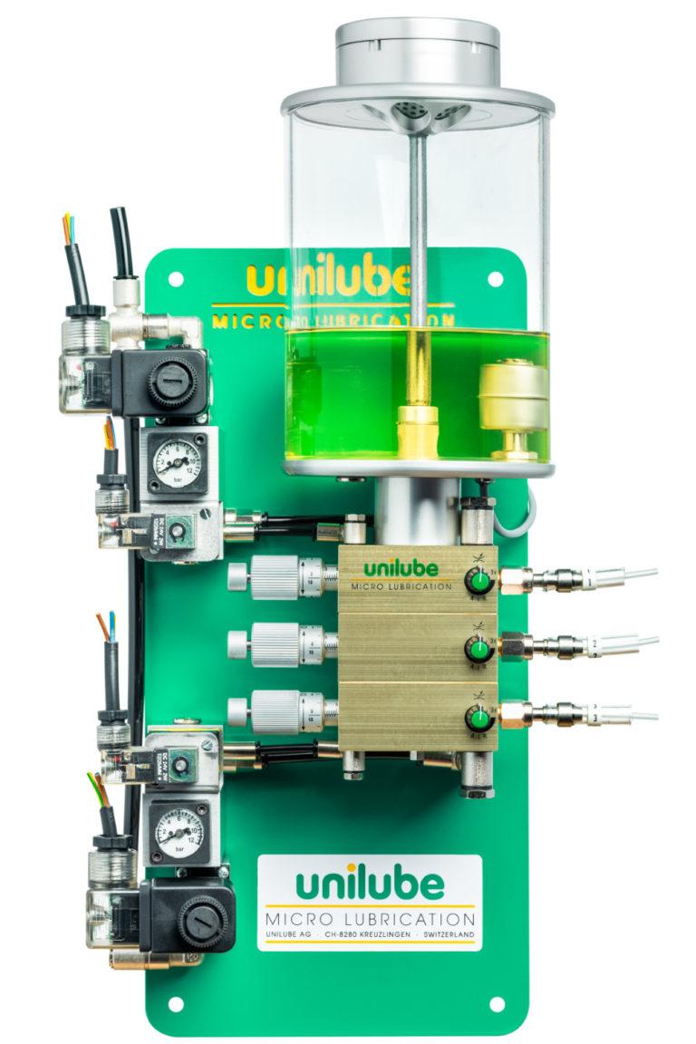 Zeigt ein Schmiersystem Ecolube 3D, für den Einsatz von Minimalmengenschmierung.
