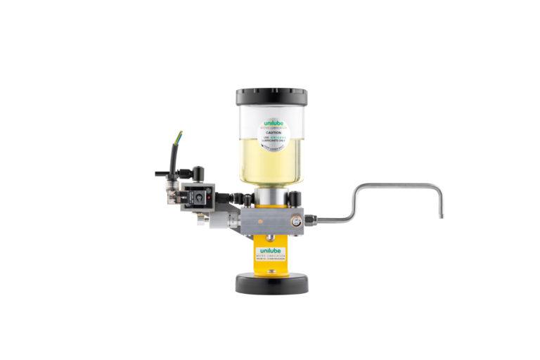 Zeigt ein Schmiersystem der Baureihe Pulslube, für den Einsatz von Minimalmengenschmierung.
